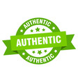 authentic ribbon authentic round green sign vector image vector image