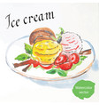 balls of ice cream with strawberries vector image vector image