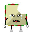 bitten sad sandwich emote fast food vector image