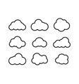 black clouds collection in linear design black vector image vector image