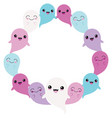 blue purple ghost friends circle wreath vector image vector image