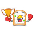 boxing winner sandwich with egg isolated in mascot vector image
