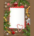 candy cane and pine branches vector image vector image
