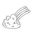 cloud and rainbow cute cartoon in black and white vector image