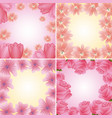 collection frames floral delicate flowers vector image