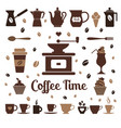 colorful coffee icon set on white vector image vector image