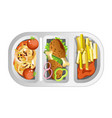 complex lunch in plastic dish composed of fastfood vector image