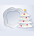 cut paper christmas tree vector image vector image
