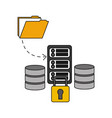 data center disks with server and set icons vector image