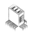 database server center circuit technology vector image