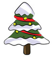 decorated christmas tree on white background vector image