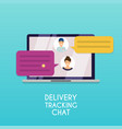 delivery tracking chat computer with text vector image vector image