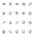 Dental Line Icons 3 vector image