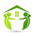 environment friendly house with green figures icon vector image