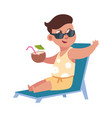 flat child on summer holidays at beach cute boy vector image vector image