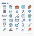 garage sale or flea market thin line icons set vector image