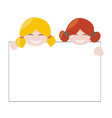 Girls holding white empty banner vector image