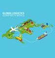 global logistic isometric vehicle infographic vector image