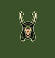 green horned man mascot logo loki vector image