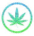 halftone blue-green cannabis icon vector image vector image