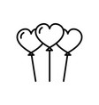 heart shaped balloons line icon sign vector image vector image