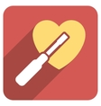 Heart Tuning Flat Rounded Square Icon with Long vector image vector image