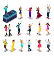 isometrics people dance set men and women party vector image