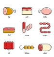 Line art meat icon set vector image