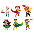 little children in costumes superheroes cook vector image