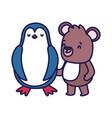 little penguin and teddy bear cartoon character on vector image
