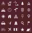 Location color icons on red background vector image vector image