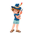 magician child with blue hat vector image