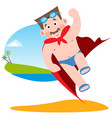 man in the image of a superhero in a bathing suit vector image