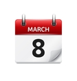 March 8 flat daily calendar icon Date and vector image vector image