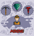 mining flat concept icon vector image