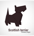 origami logo scottish terrier dog vector image vector image