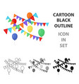 party flags and balloons icon in cartoon style vector image vector image