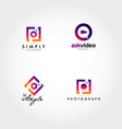 photography video logo icon design set vector image vector image
