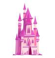 pink castle for fairy princess cartoon vector image