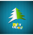 Retro Paper Christmas Blue Background with Tree vector image vector image