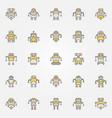 robot colorful icons set - robots creative vector image