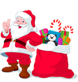 santa claus with sack full gifts vector image