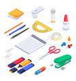 school supplies stationery isometric set vector image