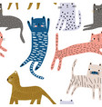 seamless pattern with cute colorful cats creative vector image vector image