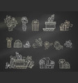 set of chalk festive gifts on blackboard vector image