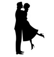 silhouette a couple in love vector image
