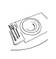 sketch of plate knife fork and spoon hand drawn vector image vector image
