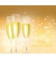 Sparkling gold champagne glasses vector image