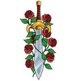 sword and roses vector image
