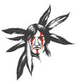 the indian warrior in feather hair dress vector image